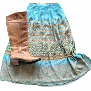 Turquoise Watercolor Boho Skirt Size 4